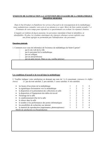 Questionnaire de l 39 enqu te de satisfaction m diath que - Enquete de satisfaction pret a porter ...
