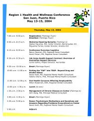 Region 1 Health and Wellness Conference San Juan, Puerto Rico ...