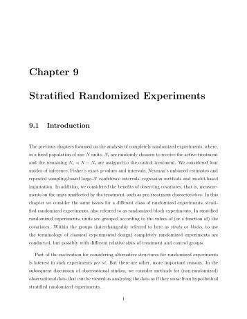 Chapter 9 Stratified Randomized Experiments