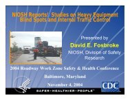 Studies on Heavy Equipment Blind Spots and Internal Traffic Control