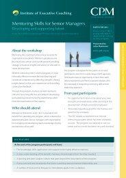 Mentoring Skills for Senior Managers - CPM