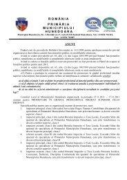 anunt concurs - Primaria Municipiului Hunedoara