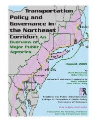 Transportation Policy and Governance in the Northeast Corridor: An ...