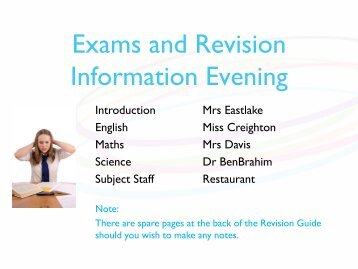 Revision Evening 2013 Powerpoint presentation - Bedford Academy