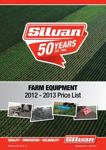 2012-13 Farm Equipment Price Book 2nd. Edition - Silvan Australia