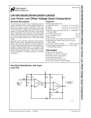 LM139/LM239/LM339/LM2901/LM3302 Low Power Low Offset ...