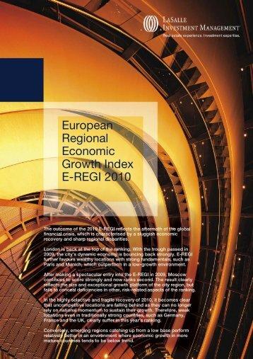 European Regional Economic Growth Index E-REGI 2010 - LaSalle ...
