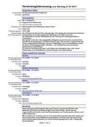 Vereinsregisterauszug zum Stichtag 21.07.2011 - Mein Klagenfurt
