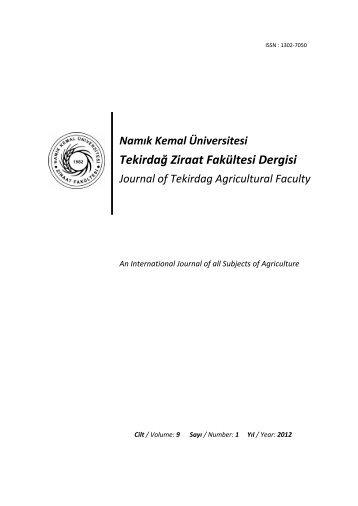 Tekirdağ Ziraat Fakültesi Dergisi - Namık Kemal Üniversitesi