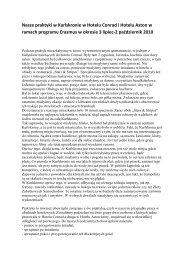 Sprawozdanie z odbytych praktyk zagranicznych