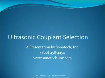 Ultrasonic Couplant Selection - Radiatronics NDT Inc.