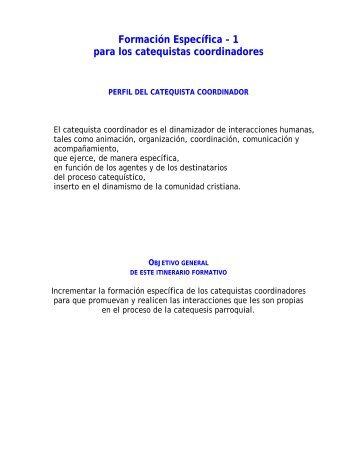 Itinerario de formación para catequistas coordinadores - Cenacat.org