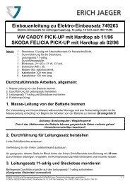 Einbauanleitung zu Elektro-Einbausatz 749263 VW CADDY PICK ...