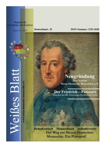 Neugründung Des Vereins Neue Deutsche Monarchie eV Der ...