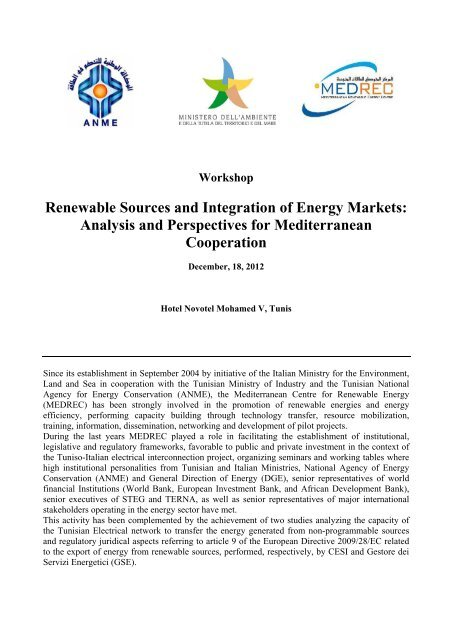 Renewable Sources and Integration of Energy ... - Corrente - Gse