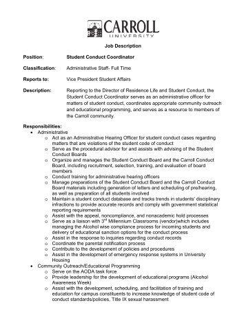 Student Conduct Coordinator Classification - Carroll University