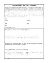 an example of wildlife rehabilitation apprentice application.