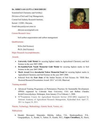 Dr. SHREYASI GUPTA CHOUDHURY Scientist(Soil ... - CSSRI Karnal