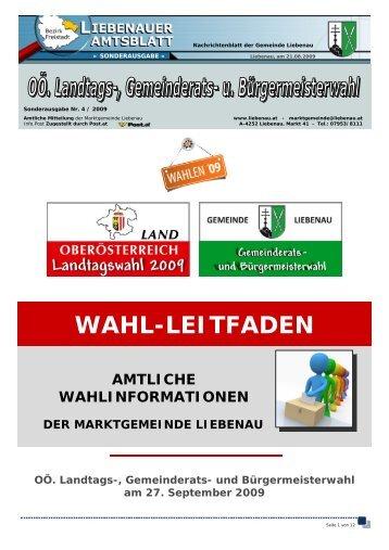Wahlinformation der Gemeinde Liebenau mit allen Details