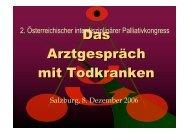 Das Arztgespräch mit Todkranken - Palliativkongress Salzburg 2006