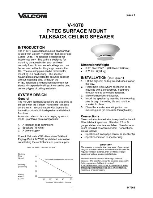 v-1070 p-tec surface mount talkback ceiling speaker - Valcom on