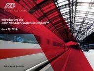 ADP National Franchise Report: Development Methodology