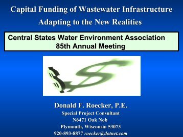 Capital Funding of Wastewater Infrastructure - Central States Water ...