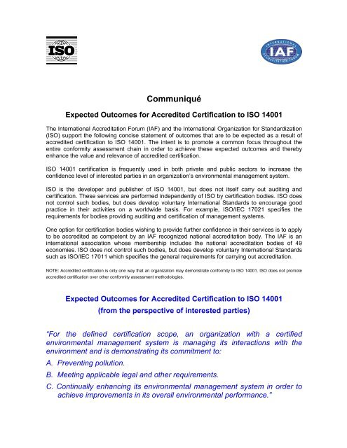 Expected Outcomes for Accredited Certification to ISO 14001 - INAB