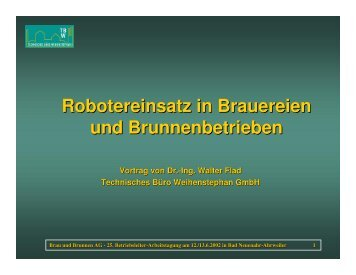 Robotereinsatz in Brauereien und Brunnenbetrieben