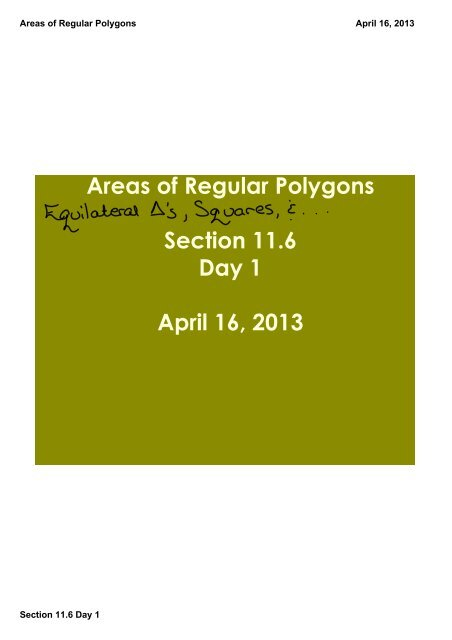 Areas of Regular Polygons