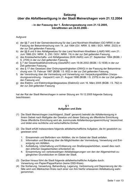 60.01 Abfallbeseitigungssatzung - Meinerzhagen