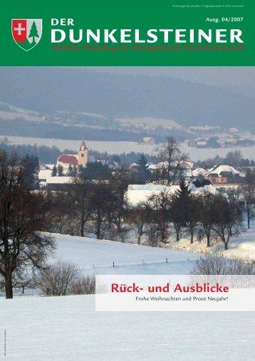 Aus dem Gemeinderat - Marktgemeinde Dunkelsteinerwald