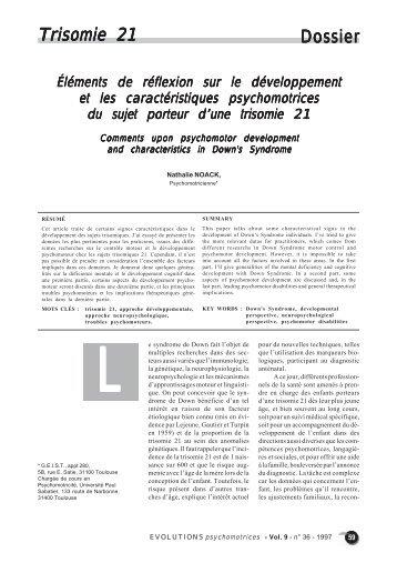 Dossier Trisomie 21 risomie 21 - Institut de Formation en ...