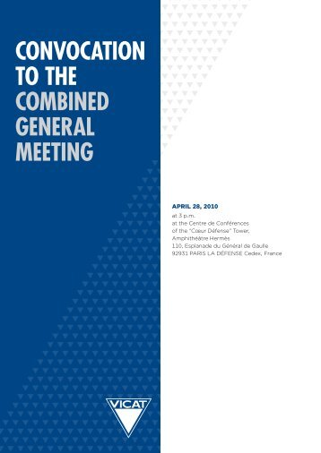 CONVOCATION TO THE COMBINED GENERAL MEETING - Vicat