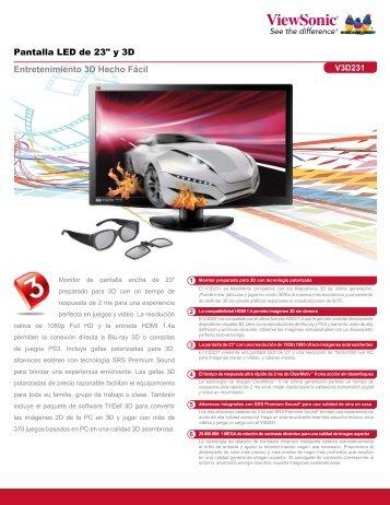 """Pantalla LED de 23"""" y 3D Entretenimiento 3D Hecho Fácil - ViewSonic"""