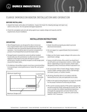 flange immersion heater installation and operation - Durex Industries