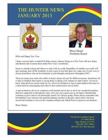 the hunter news january 2013 - The Royal Canadian Legion ...