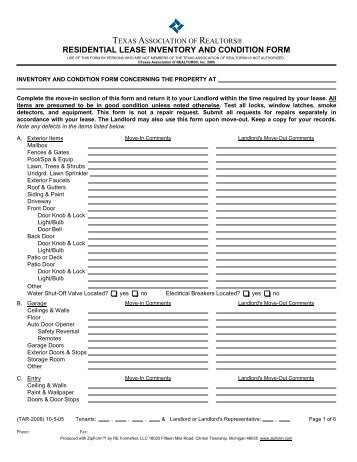 RESIDENTIAL LEASE INVENTORY AND CONDITION FORM