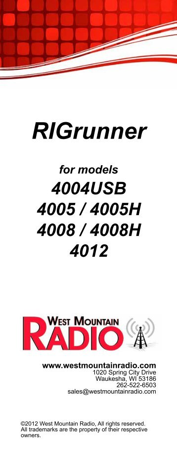Pre-2013 RIGrunner 4004 USB Manual - West Mountain Radio
