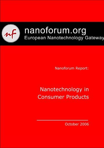 Nanotechnology in Consumer Products - Nanoforum