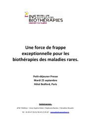 Biothérapies et maladies rares - Institut de Myologie