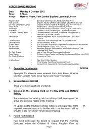 YOROK BOARD MEETING Date: Monday 1 October 2012 Time ...