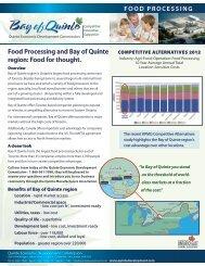 Food Processing Sector Sheet - Quinte Economic Development ...