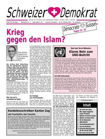 Krieg gegen den Islam? - Schweizer Demokraten SD