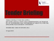 Tender requirements - Singapore Management University