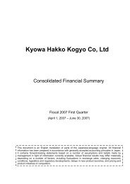 Consolidated Financial Statements Fiscal 2007 First Quarter