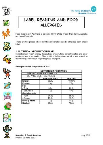 LABEL READING AND FOOD ALLERGIES