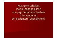 (sozial)pädagogische von psychotherapeutischen Interventionen ...