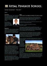 February 2011 newsletter - Rydal Penrhos School