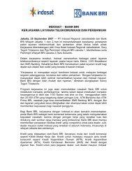 Bank BRI Kerjasama Layanan Telekomunikasi dan ... - Indosat